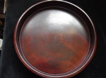 "VINTAGE SOLID WOOD ROUND TRAY RICH DEEP COLOUR LOVELY GRAIN 11"" DIA X 1.75"" HIGH"